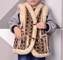 Жилет детский с узором из овчины 2-9 лет с карманами 747158226