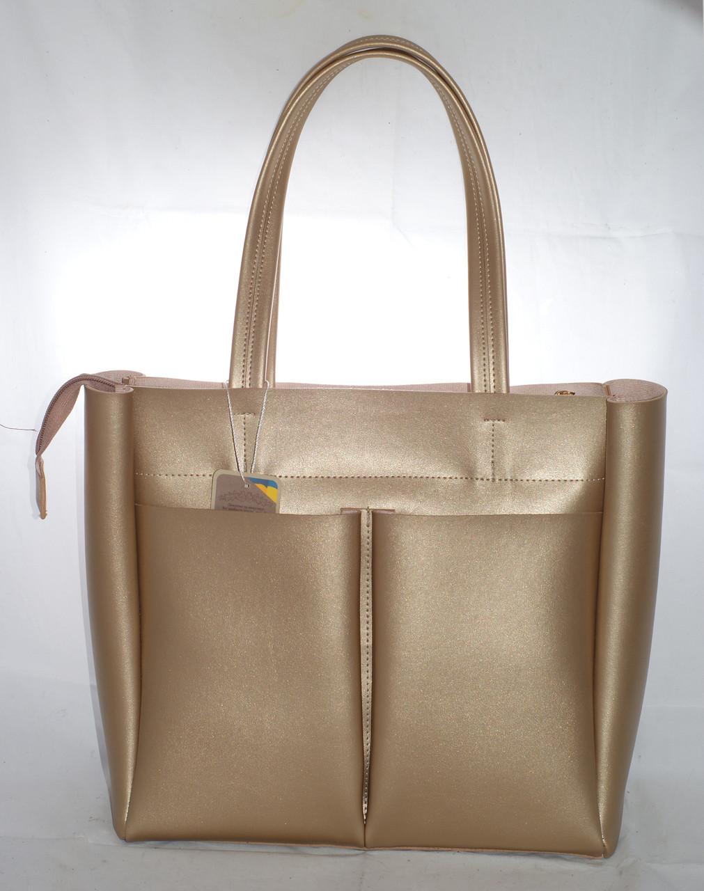 Большая женская сумка-шоппер B.Elit,золотистая