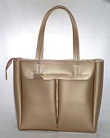 Большая женская сумка-шоппер B.Elit,золотистая, фото 1