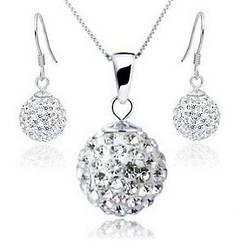 Набор бижутерии ожерелье+серьги Хрустальный шар, покрытие серебром