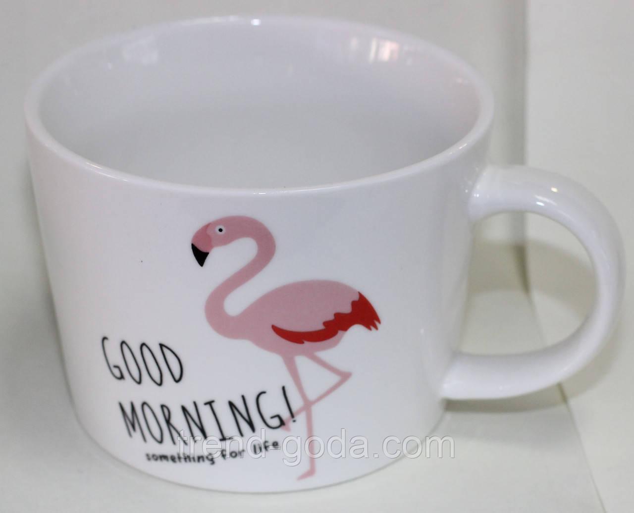 Кружка керамическая белая, розовый фламинго