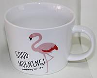 Кружка керамическая белая, розовый фламинго, фото 1