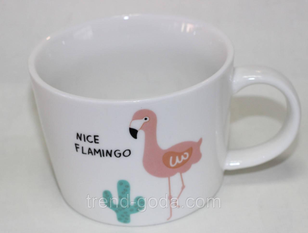 Кружка керамическая белая, розовый фламинго и кактус