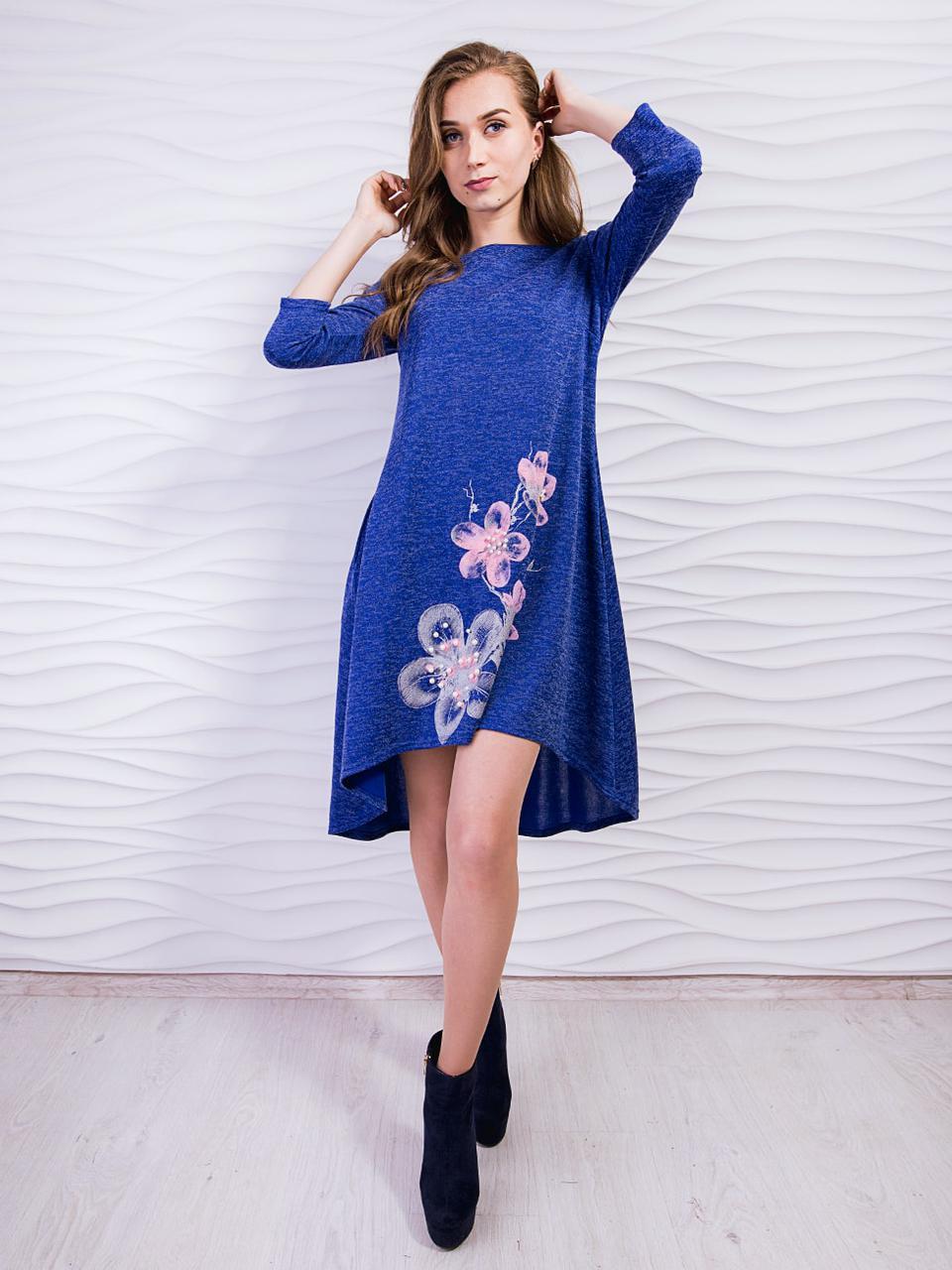 Повседневное нарядное платье из ангоры софт с четвертными рукавами, С,М,Л,ХЛ