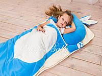 Зайка синий -детский спальник-слипик