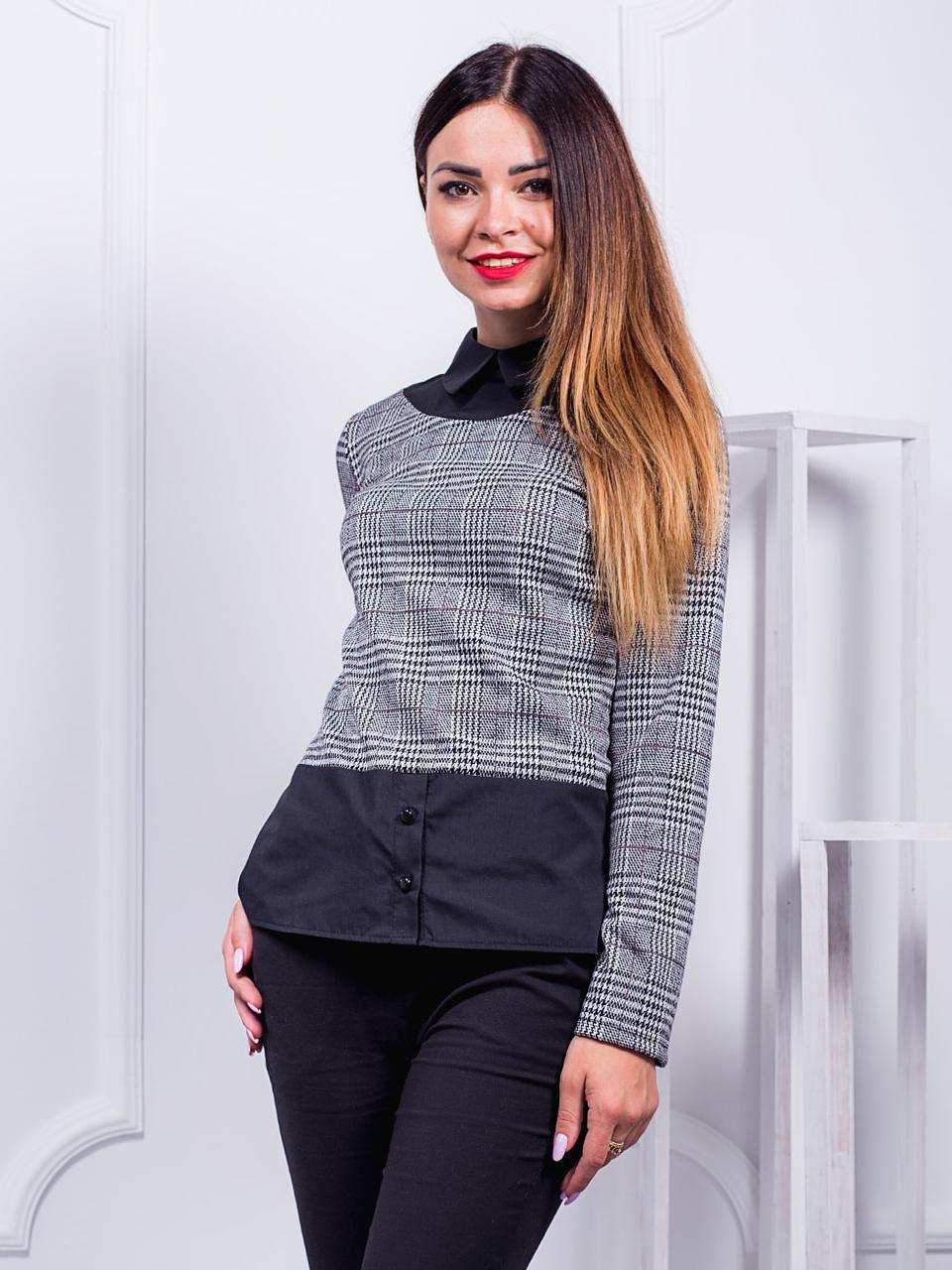 Женская стильная кофта-рубашка в клетку с модного трикотажа , С,М,Л,ХЛ