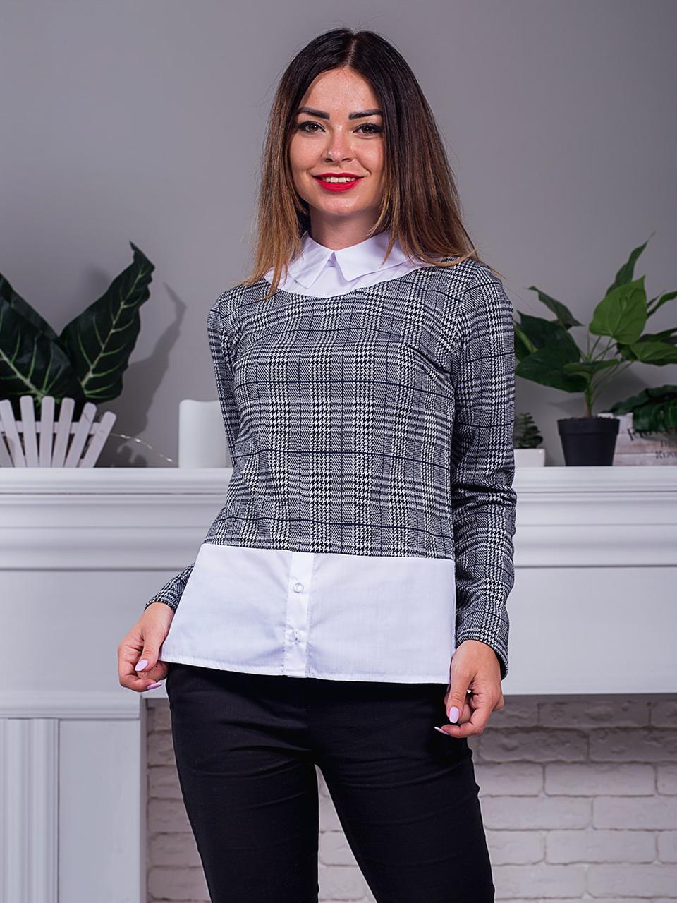 7fb7263567d Женская стильная кофта-рубашка в клетку с модного трикотажа
