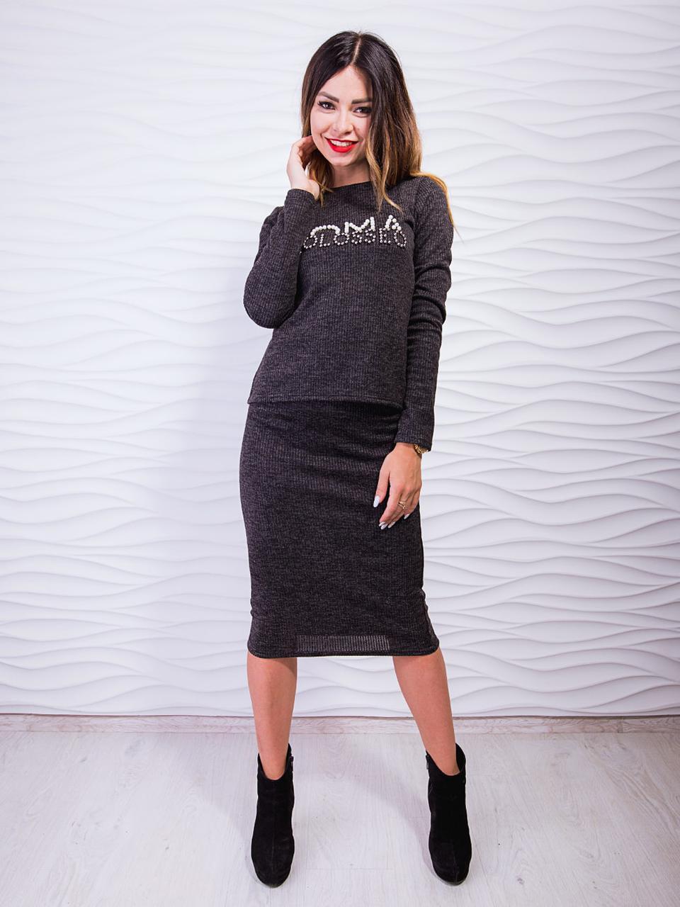 Дизайнерский костюм-двойка: классическая кофта и юбка-карандаш, С,М,Л,ХЛ