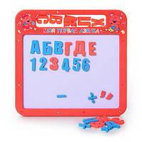 Досточка 0185 UK, магнитная азбука мал, 2 в 1, русский, украинский алфавит, 25-24 см