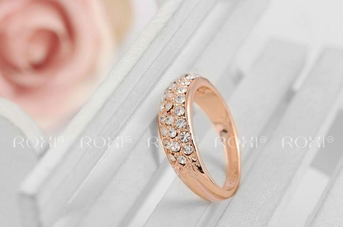 Кольцо Roxi, покрытие из розового золота, с кристалликами