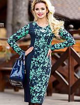 Женское трикотажное платье по фигуре с цветочным принтом (1265-1266-1267 svt), фото 3