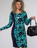 Женское трикотажное платье по фигуре с цветочным принтом (1265-1266-1267 svt)