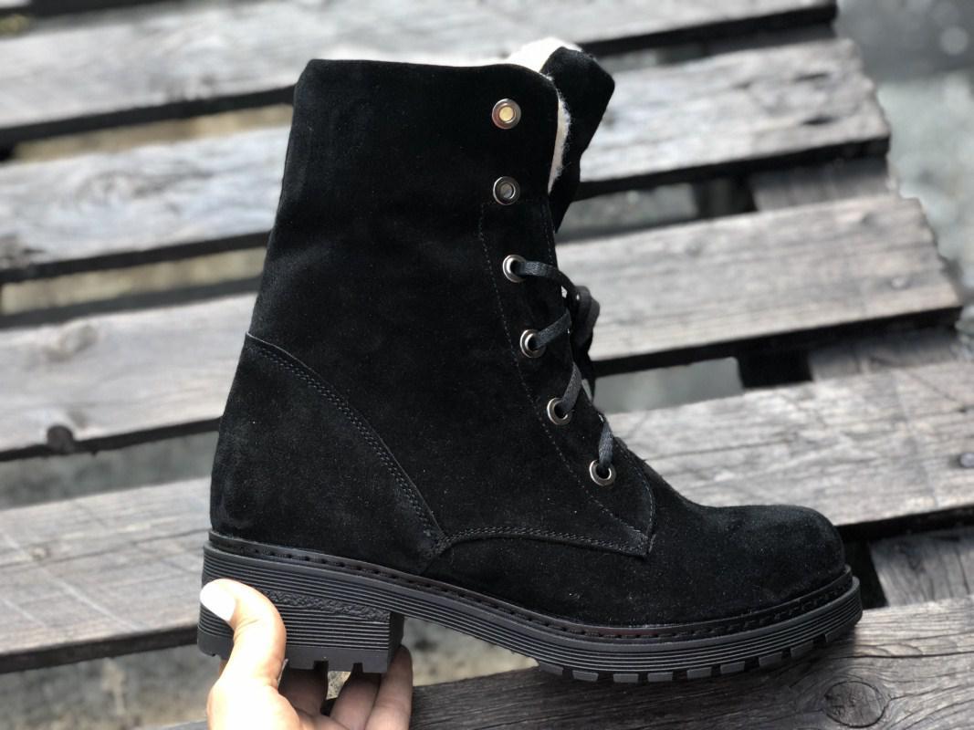 Высокие ботинки №533-1 черный замш (брук 3)