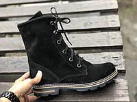 №533-2 Ботинки из натурального черного замша (идеал черн+кор)