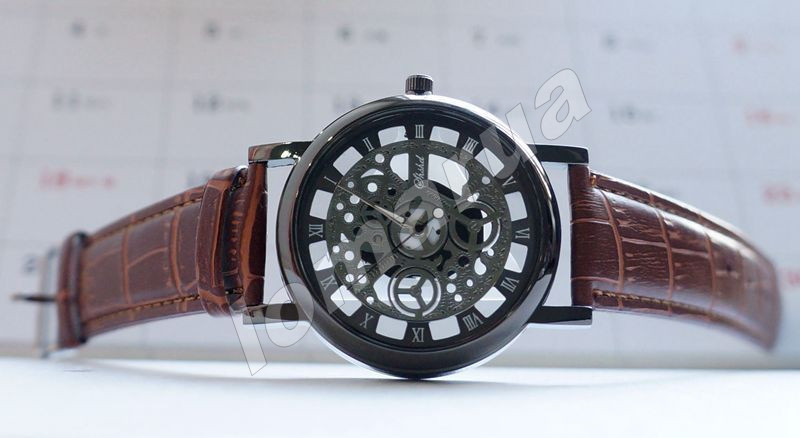 Кварцевые мужские часы скелетоны Black Brown stripe