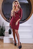 Клубное мини платье цвета марсала Д-1622