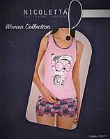 Пижама женская с  минишортами  трикотажная  , фото 1