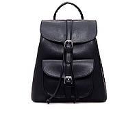Рюкзак женский для девушек из экокожи с накладным карманом  (черный), фото 1