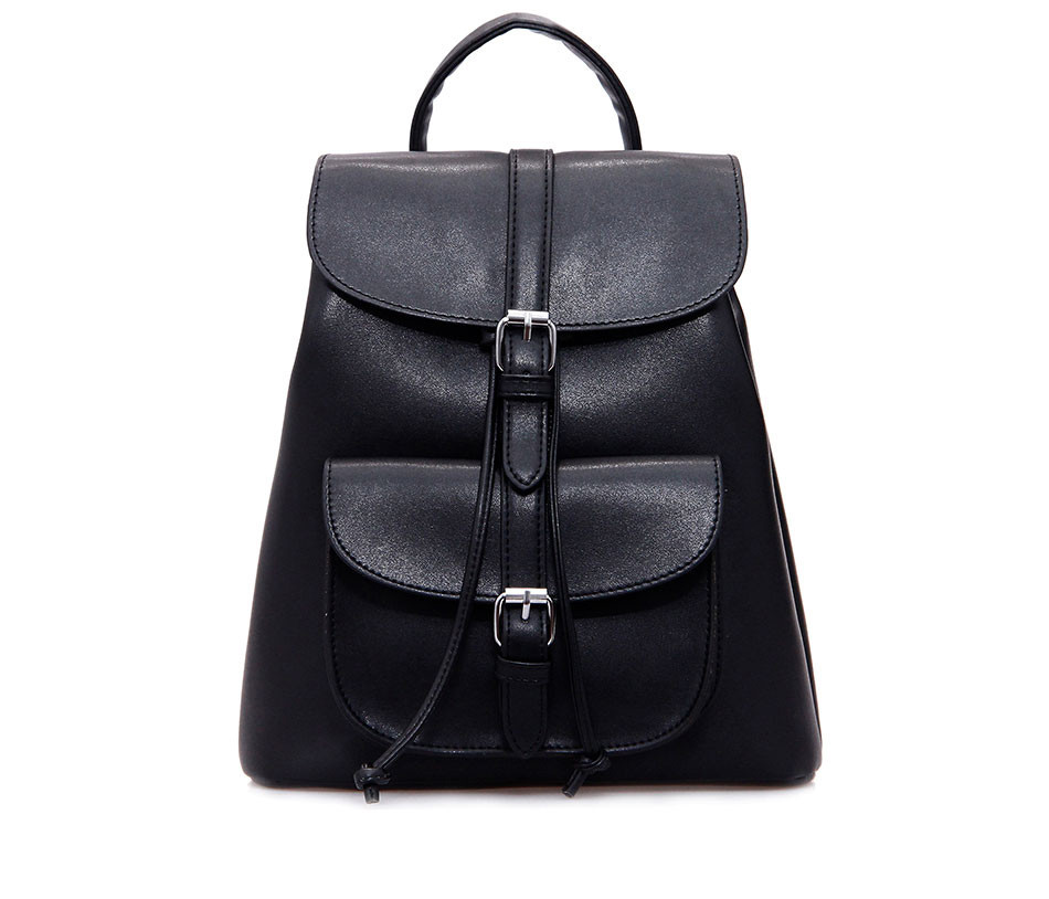 1f0670601d4f Рюкзак женский для девушек из экокожи с накладным карманом (черный) -  Интернет-магазин