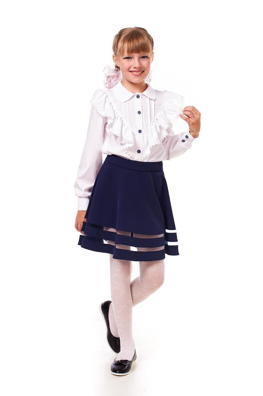 Школьная нарядная блузка с рюшами 12001