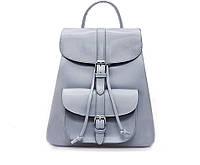 Рюкзак женский для девушек из экокожи с накладным карманом  (серый)