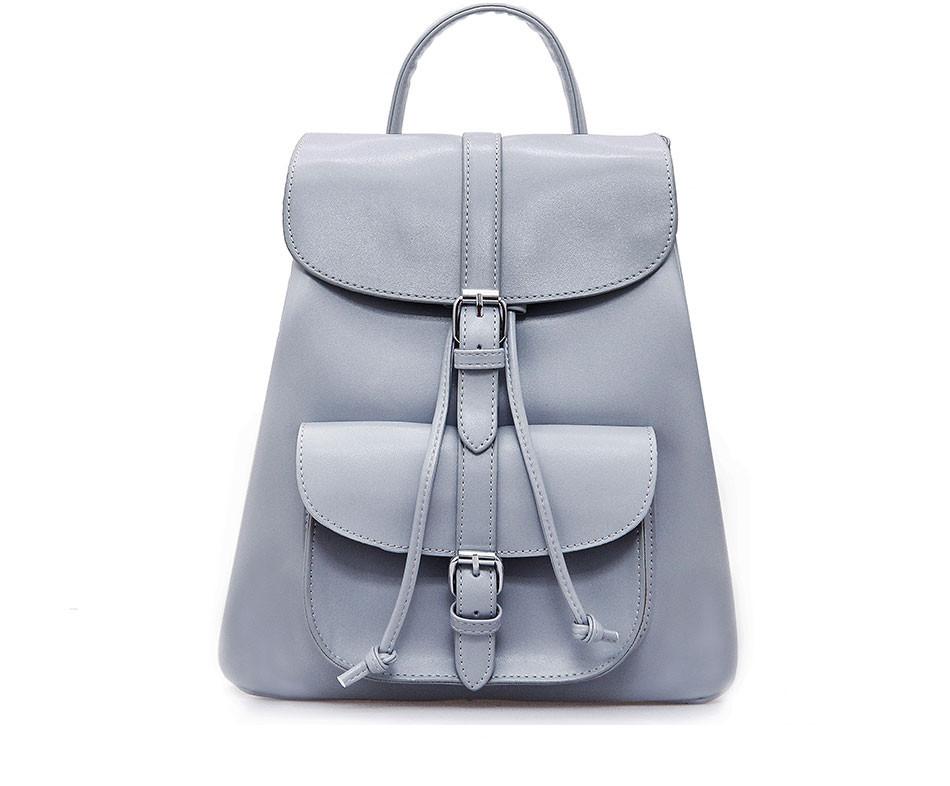 05b89f866d3a Рюкзак женский для девушек из экокожи с накладным карманом (серый) -  Интернет-магазин