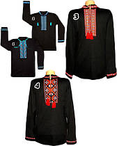 Черная мужская вышиванка с длинным рукавом, интерлок, р.р.42-60