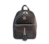Рюкзак женский городской стеганый с кисточками (черный), фото 1