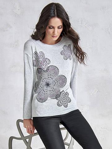 Женская трикотажная блуза с принтом. Модель V66 Sunwear. Коллекция осень-зима 2018-2019