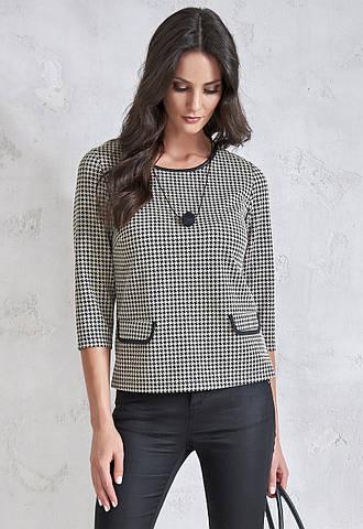 Женская блуза с принтом гусиная лапка. Модель V71 Sunwear. Коллекция осень-зима 2018-2019