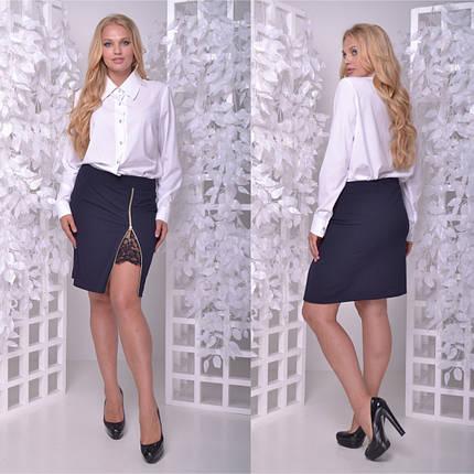 139ee4e3d1a Стильный костюм двойка большого размера из юбки с разрезом и блузы 50-60 р