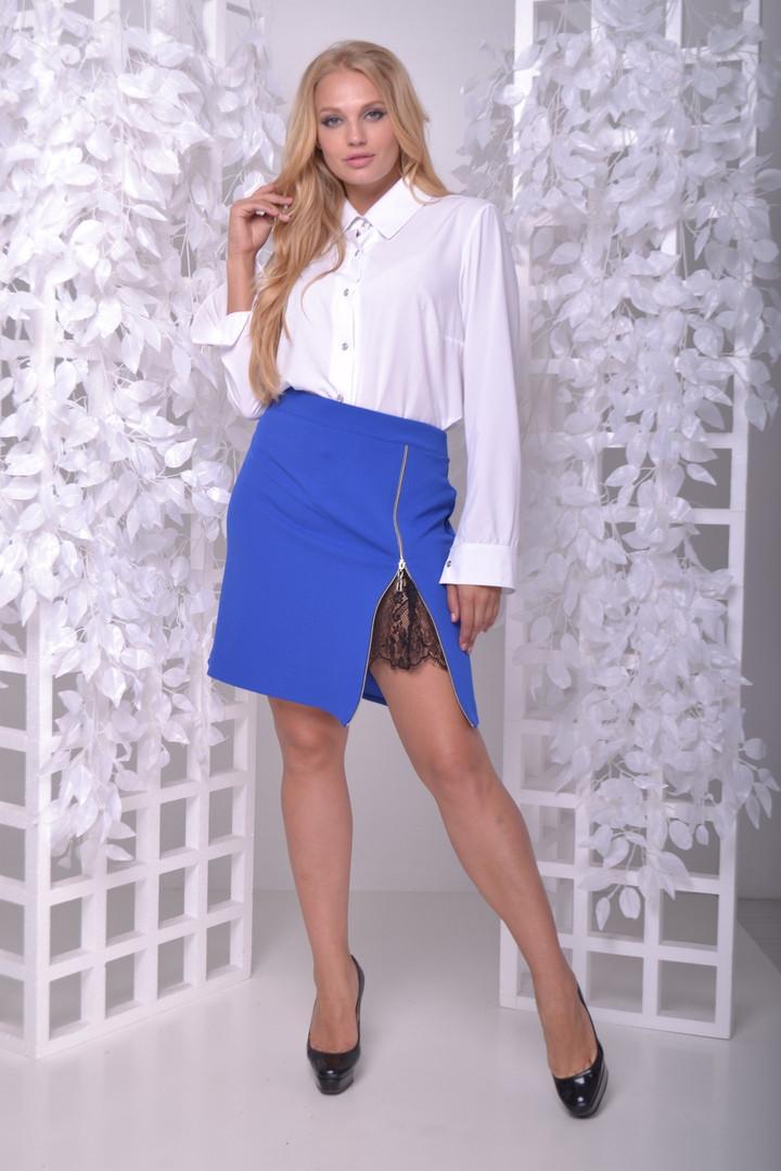 2248e7f609b Модный женский костюм большого размера из юбки с разрезом и блузы 50-60 р -