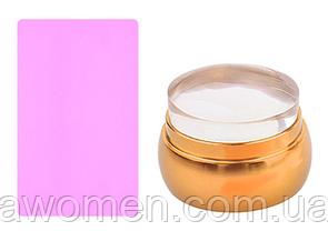Штамп силиконовый, металлический корпус (золото)