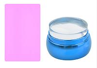 Штамп силиконовый, металлический корпус (голубой)
