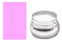 Штамп силиконовый, металлический корпус (серебро), фото 1