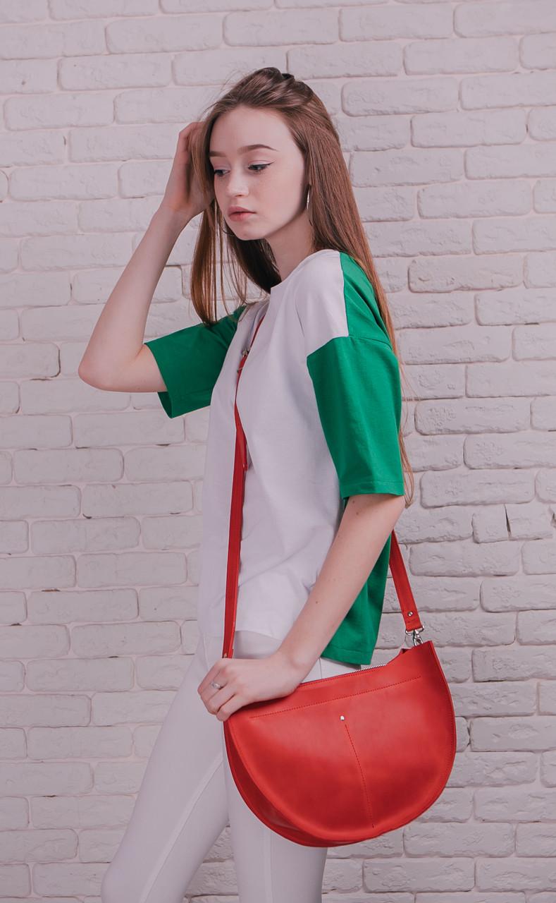 e028798126b9 Кожаная сумка SEMI, цвет красный, Крейзи Хорс, ручная работа, натуральная  кожа,