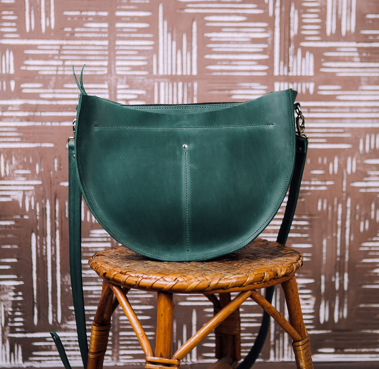 9c48e3eb0898 Кожаная сумка SEMI, цвет зеленый, кожа Кайзер, ручная работа, натуральная  кожа,