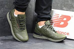 Нью беланс кроссовки мужские кожаные темно-зеленые (реплика) New Balance Trailbuster Dark Green Leather
