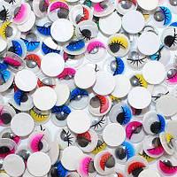 (10грамм, d=12мм) Глазки с ресничками подвижные для игрушек (≈115-120 глазок) цвет - Ассорти