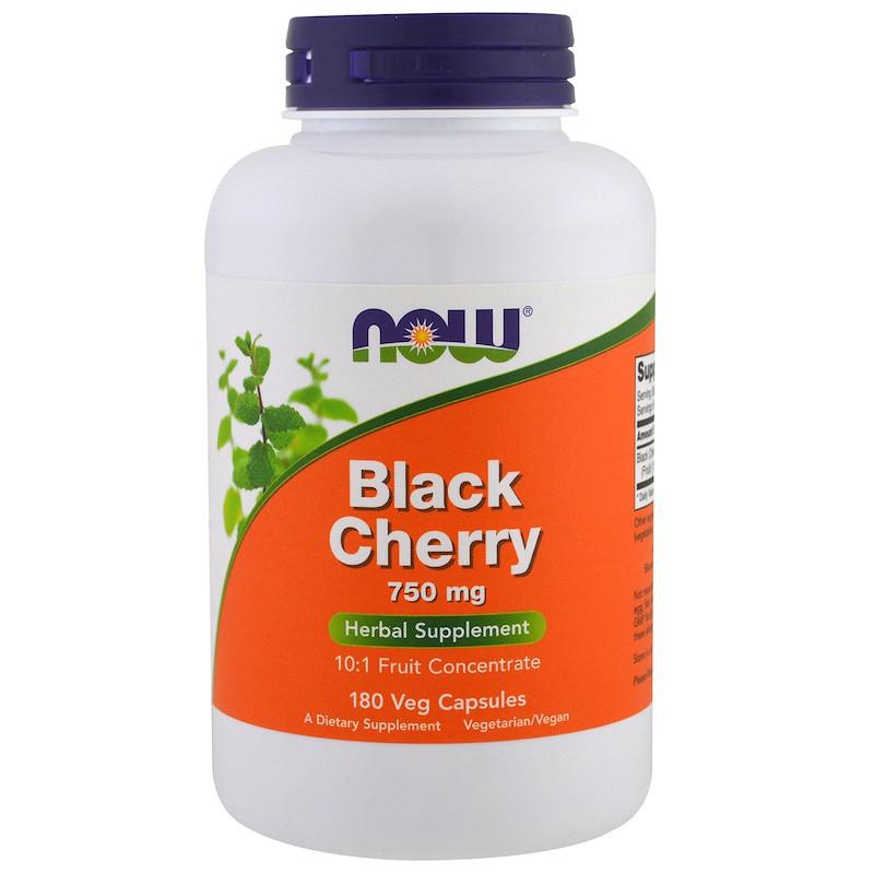 Черная вишня, экстракт (Black Cherry), NOW Foods, от подагры и артрита: 180 капсул. Сделано в США.
