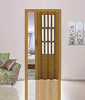 Дверь гармошка со  стеклом дуб