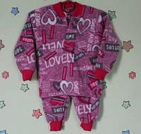 Детская теплая пижама для девочки флис