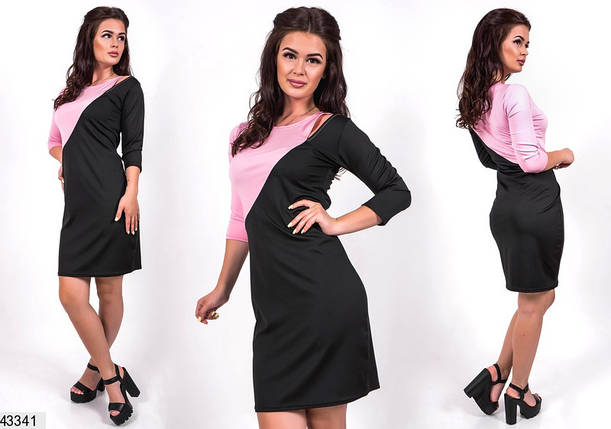 Модное платье короткое приталенное двухцветное рукав до локтя черное с розовым, фото 2
