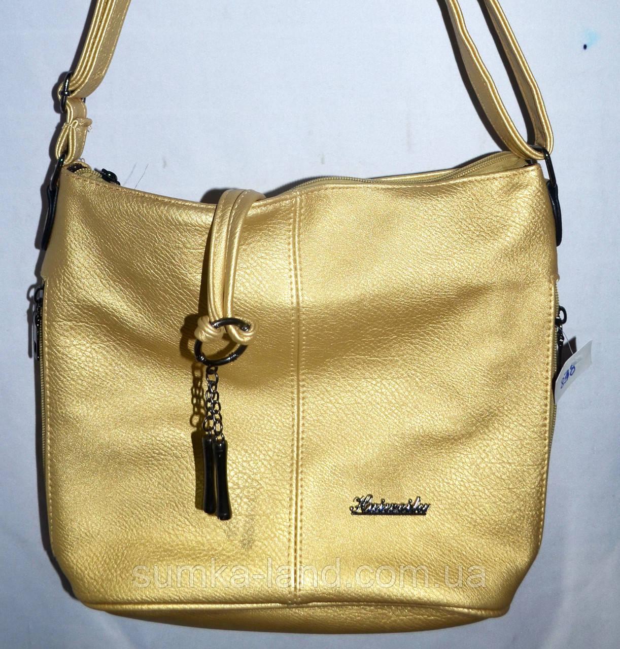 Женская маленькая сумка-торбочка на 1 отделение 26*26 см (золото)