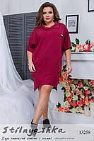 Платье со змейками большого размера бордо, фото 1
