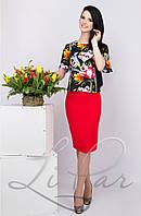 Женский юбочный костюм с цветочным принтом