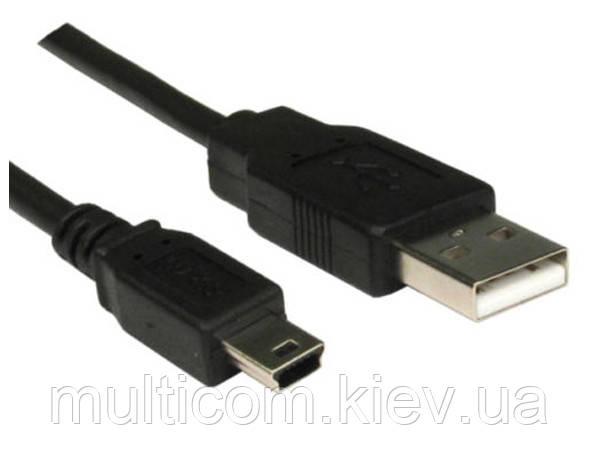 05-09-022. Шнур USB штекер А - штекер mini USB, черный, 1м