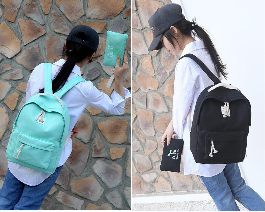 Комплект 2-в-1 пенал+рюкзак школьный черный, бирюза.