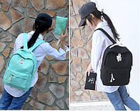 Комплект 2-в-1 пенал(кошелек-сумочка))+рюкзак школьный черный,бирюза.