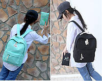 Комплект 2-в-1 пенал+рюкзак школьный черный, бирюза., фото 1